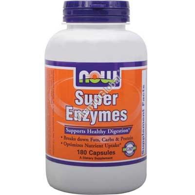 Супер энзимы для улучшения функционирования пищеварительной системы 180 таблеток - NOW Foods