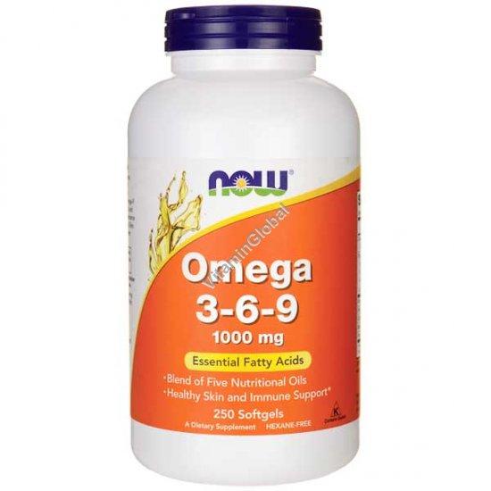 Омега 3-6-9 250 мягких капсул - NOW Foods