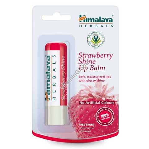 Увлажняющий бальзам для губ с клубничным оттенком 4.5 гр - Himalaya Herbals
