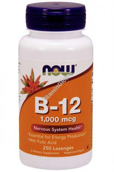 Витамин В-12 1000 мкг с фолиевой кислотой 100 мкг 250 таблеток - NOW Foods