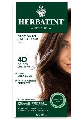 Краска для волос золотисто-каштановый цвет 4D - Herbatint