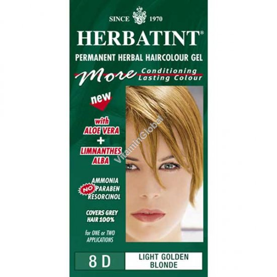 Краска для волос светло-золотистый блонд (8D) - Гербатинт