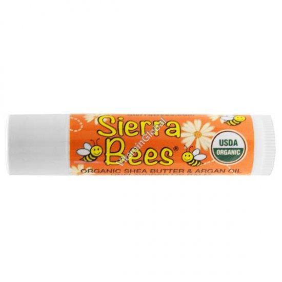 Органическая гигиеническая губная помада без аромата с маслом ши и аргановым маслом 4.25 гр - Sierra Bees