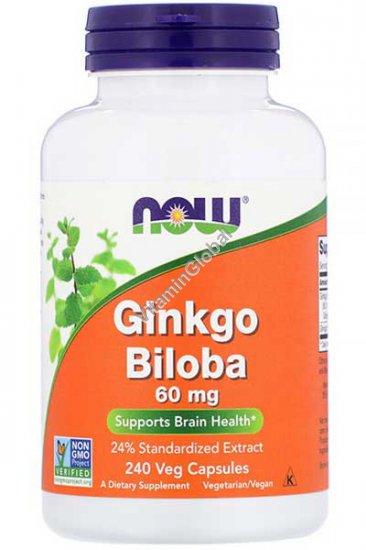 Гинко Билоба 60 мг 240 капсул - NOW Foods