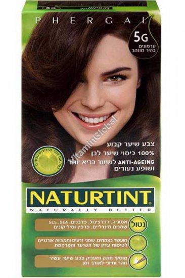 Стойкая краска для волос, цвет светло-золотисто-каштановый 5G - Натуртинт