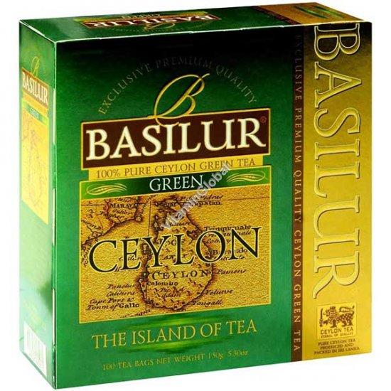 """Премиум зеленый цейлонский чай из серии """"Чайный остров Цейлон"""" 100 фильтр-пакетиков - Basilur"""