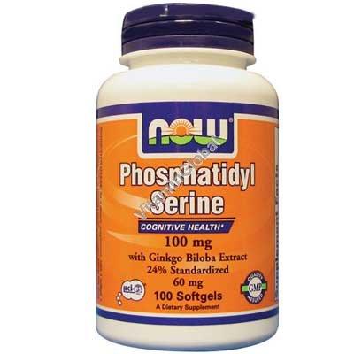 Фосфатидил Серин 100 мг с гинко билоба 100 мягких капсул - NOW Foods