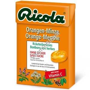 Леденцы без сахара с экстрактами трав со вкусом апельсина и мяты 50 гр - Рикола