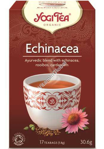 Органический аюрведический чай - эхинацея, ройбос и кардамон 17 фильтр-пакетиков - Yogi Tea