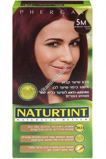 Стойкая краска для волос, цвет светло-каштановый с красным оттенком 5М - Натуртинт