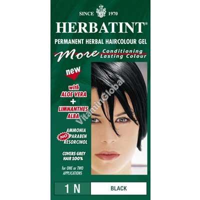 Краска для волос черный цвет (1N) - Гербатинт