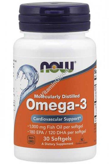 Омега 3 1000 мг рыбьего жира 30 мягких капсул - Now Foods