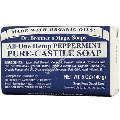 Натуральное мятное мыло 140 гр - Dr. Bronner